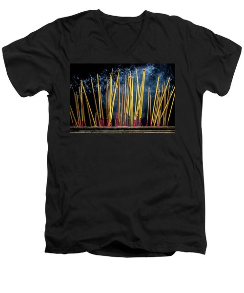 Burning Joss Sticks Men's V-Neck T-Shirt by Hitendra SINKAR