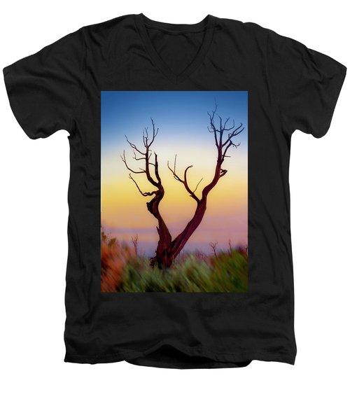 Burnt Cedar At Sunset Men's V-Neck T-Shirt by Gary Warnimont