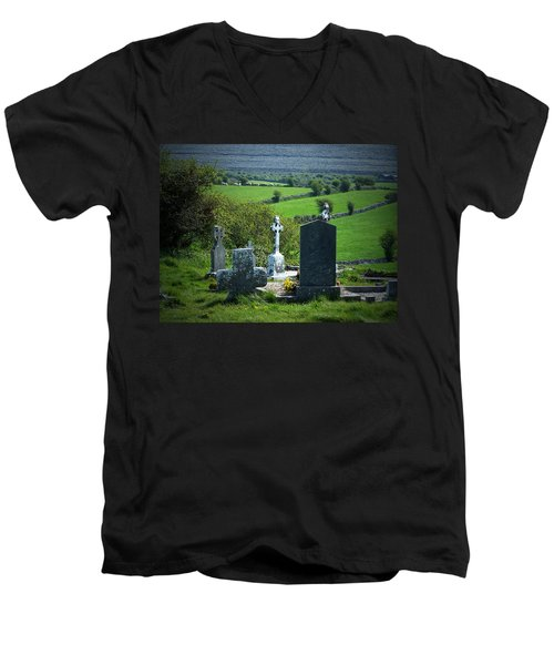 Burren Crosses County Clare Ireland Men's V-Neck T-Shirt