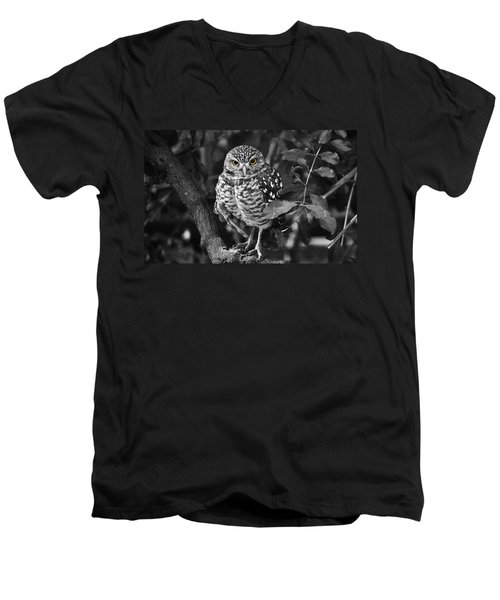 Burrowing Owl  Selective Color Eyes Men's V-Neck T-Shirt by Judy Wanamaker