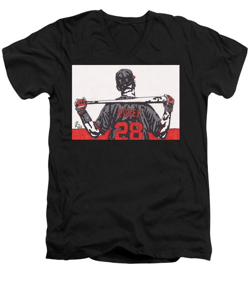Buster Posey Men's V-Neck T-Shirt by Jeremiah Colley