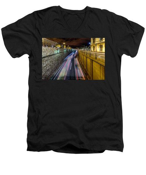 Busy Night In Barcelona Men's V-Neck T-Shirt by Randy Scherkenbach