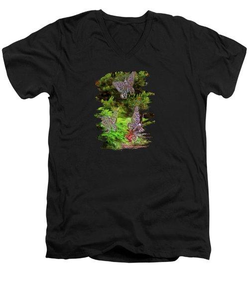 Men's V-Neck T-Shirt featuring the photograph Butterflies by Thom Zehrfeld