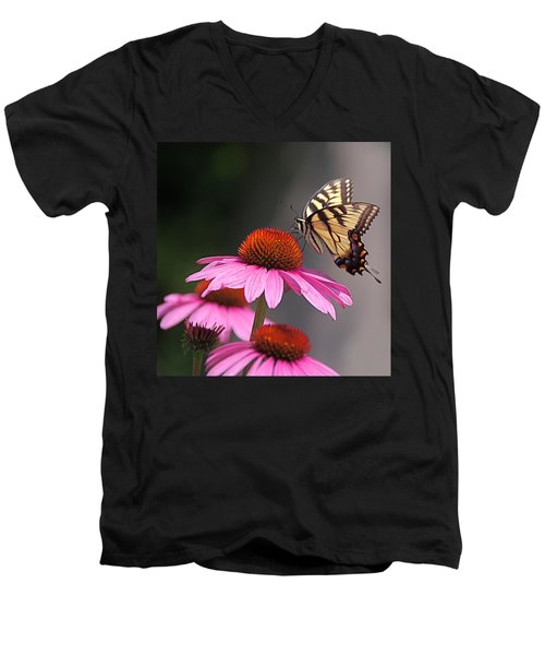 Butterfly And Coneflower Men's V-Neck T-Shirt