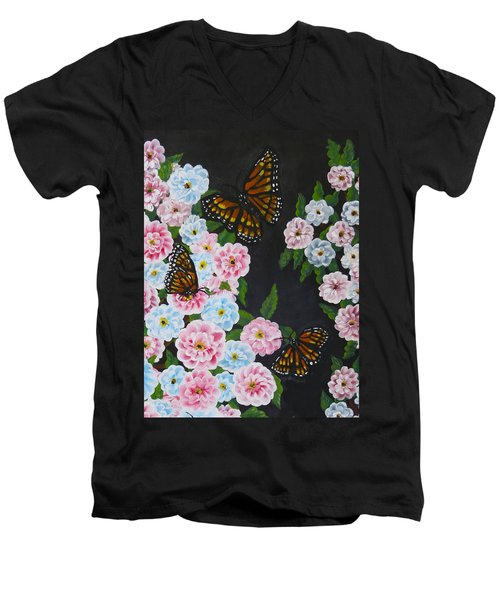 Butterfly Beauty Men's V-Neck T-Shirt by Teresa Wing