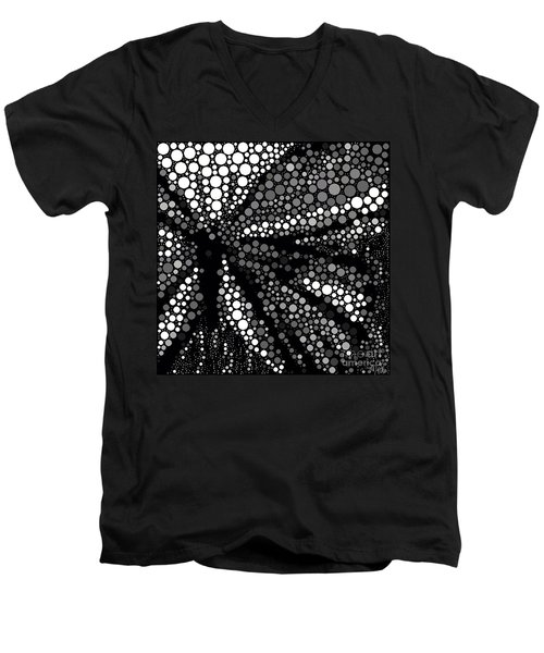 Butterfly Black And White Abstract Men's V-Neck T-Shirt