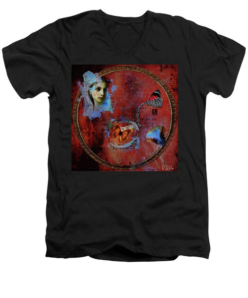Butterfly Circle Of Love Men's V-Neck T-Shirt