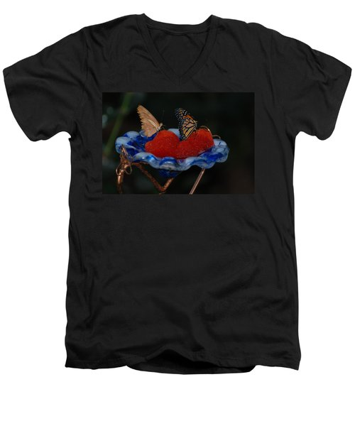 Men's V-Neck T-Shirt featuring the photograph Butterfly Fruit by Richard Bryce and Family