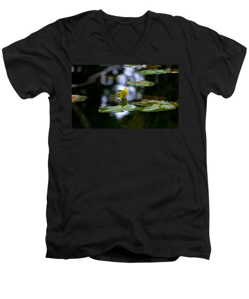 Butterfly Lily Pad Men's V-Neck T-Shirt by Jeanette C Landstrom
