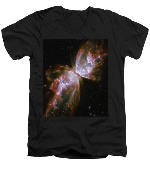 Butterfly Nebula Men's V-Neck T-Shirt by Jennifer Rondinelli Reilly - Fine Art Photography
