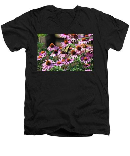 Butterfly On Coneflowers Men's V-Neck T-Shirt