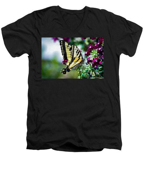 Butterfly On Purple Flowers Men's V-Neck T-Shirt
