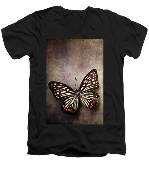 Butterfly Over Textured Background Men's V-Neck T-Shirt