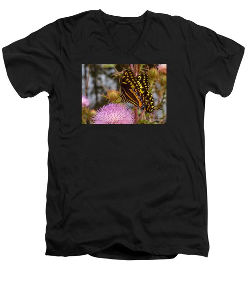 Butterfly Visit Men's V-Neck T-Shirt by Tom Claud