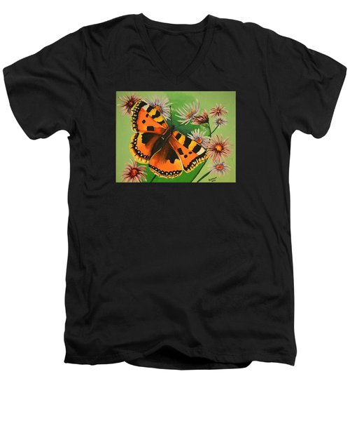 Butterfly With Asters Men's V-Neck T-Shirt by Donna Blossom