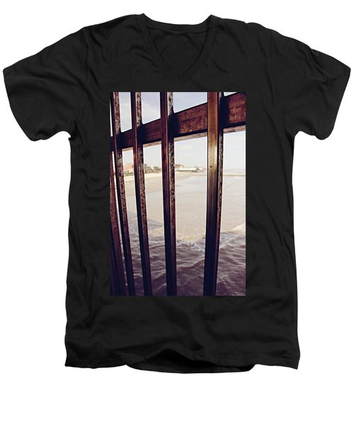 Men's V-Neck T-Shirt featuring the photograph By The Sea by Trish Mistric