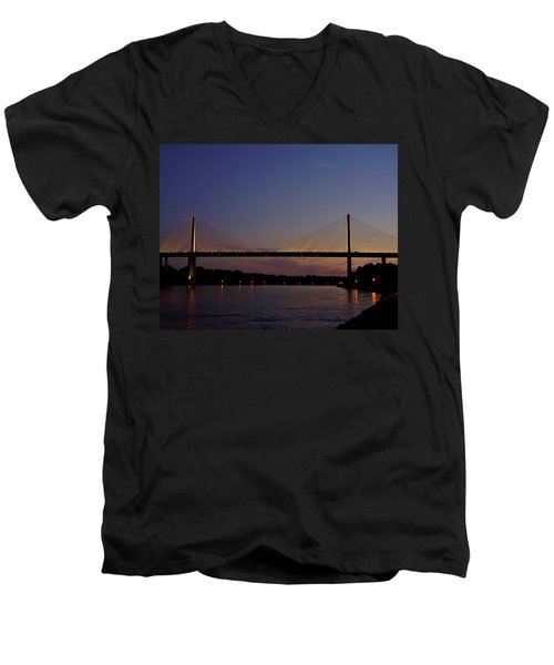 C And D Canal Bridge Men's V-Neck T-Shirt by Ed Sweeney