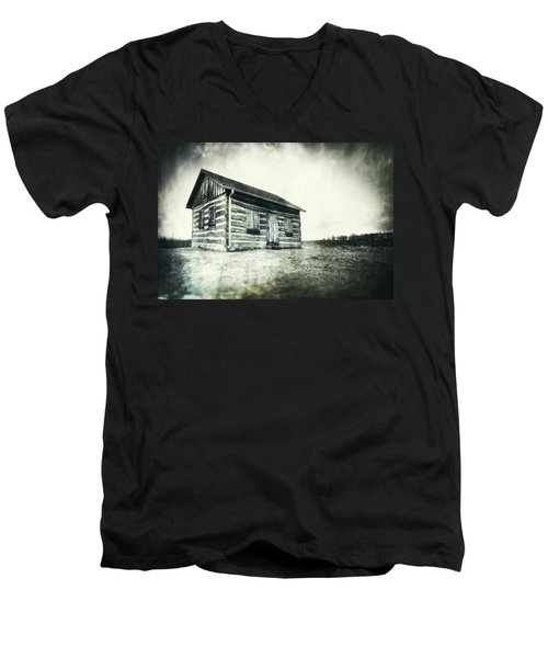 Men's V-Neck T-Shirt featuring the photograph Cabin Near Paradise Springs - Kettle Moraine State Forest by Jennifer Rondinelli Reilly - Fine Art Photography