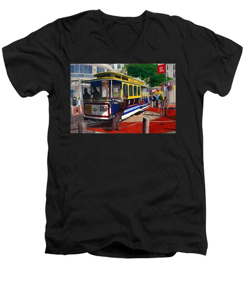 Cable Car Turntable At Powell And Market Sts. Men's V-Neck T-Shirt