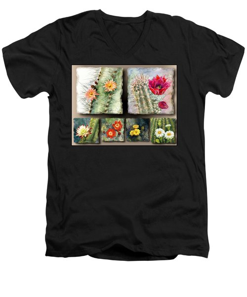 Men's V-Neck T-Shirt featuring the painting Cactus Collage 10 by Marilyn Smith