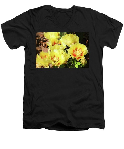 Men's V-Neck T-Shirt featuring the photograph Cactus Flowers And Friend by Sheila Brown