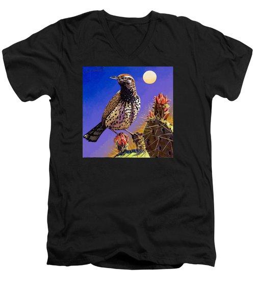 Cactus Wren Men's V-Neck T-Shirt by Bob Coonts