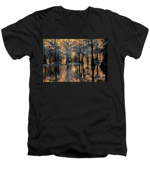 Caddo Lake Sunrise Men's V-Neck T-Shirt by Iris Greenwell
