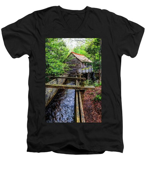 Cades Cove Grist Mill In The Great Smoky Mountains National Park  Men's V-Neck T-Shirt
