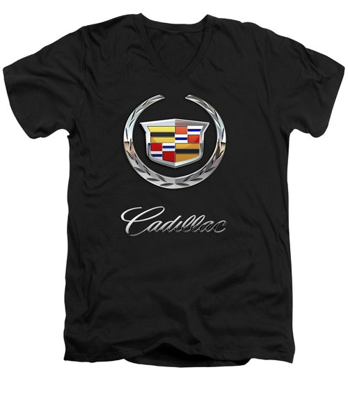 Cadillac - 3 D Badge On Black Men's V-Neck T-Shirt