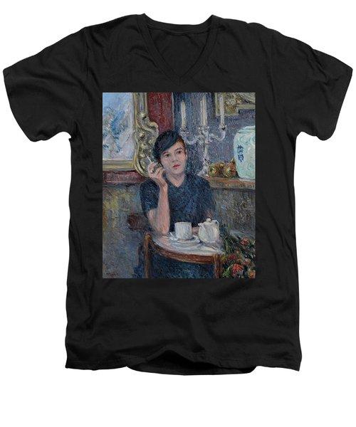 Cafe De Paris  Men's V-Neck T-Shirt