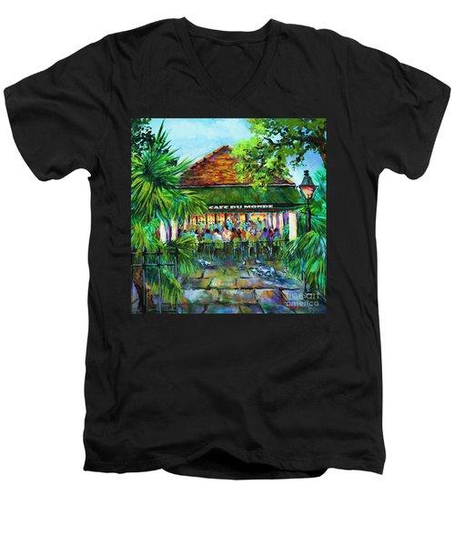 Cafe Du Monde Morning Men's V-Neck T-Shirt