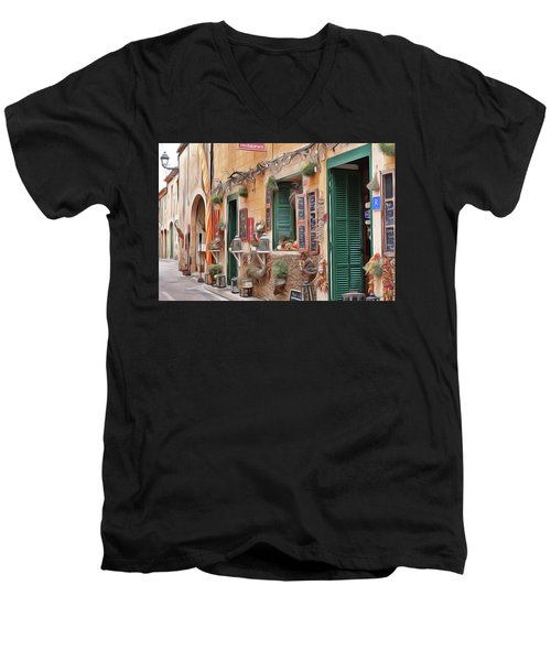 Men's V-Neck T-Shirt featuring the painting Cafe by Harry Warrick