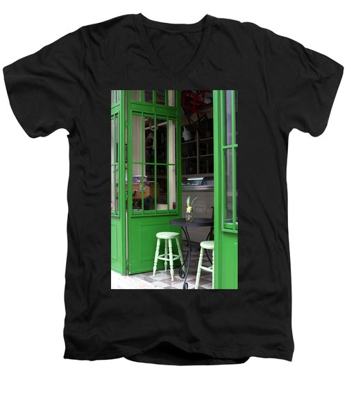 Men's V-Neck T-Shirt featuring the photograph Cafe In Green by Lorraine Devon Wilke