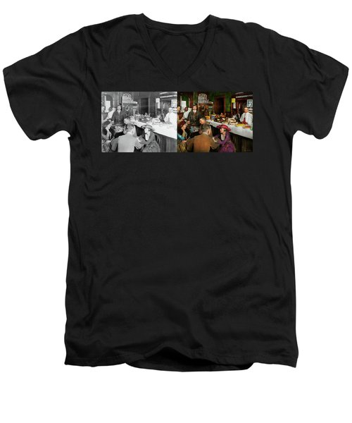 Men's V-Neck T-Shirt featuring the photograph Cafe - Temptations 1915 - Side By Side by Mike Savad