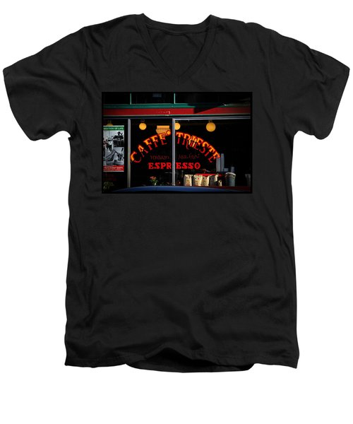 Caffe Trieste Espresso Window Men's V-Neck T-Shirt