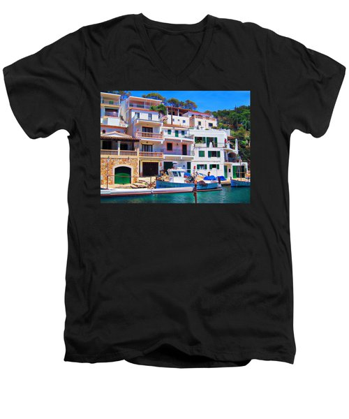 Cala Figuera Men's V-Neck T-Shirt by Andreas Thust