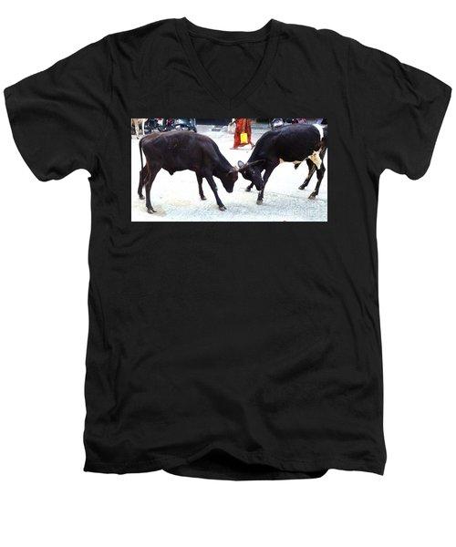 Calf Fighting Men's V-Neck T-Shirt