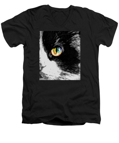Calico Cat With A Splash Men's V-Neck T-Shirt by Kathy Kelly