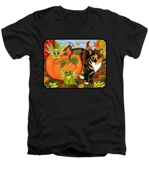 Calico's Mystical Pumpkin Men's V-Neck T-Shirt