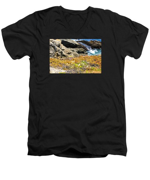California Coastal Flora Men's V-Neck T-Shirt