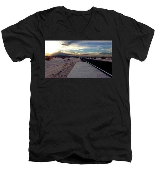 California Desert Highway Men's V-Neck T-Shirt by Christopher Woods