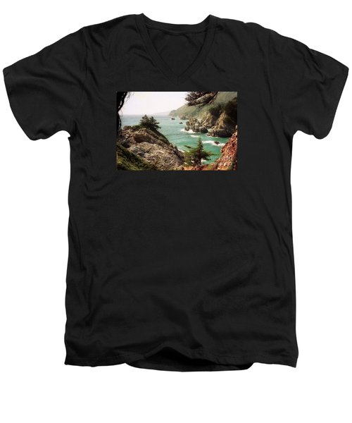 California Highway 1 Coast Men's V-Neck T-Shirt by Ted Pollard