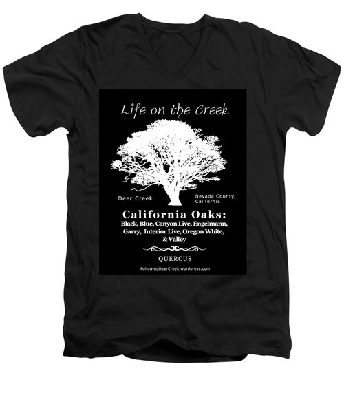 California Oak Trees - White Text Men's V-Neck T-Shirt