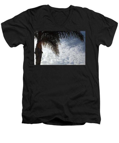 California Palm Tree Half View Men's V-Neck T-Shirt by Matt Harang