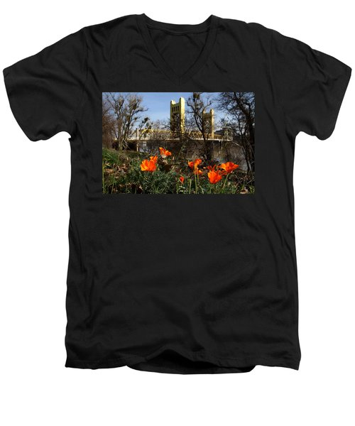 California Poppies With The Slightly Photographically Blurred Sacramento Tower Bridge In The Back Men's V-Neck T-Shirt