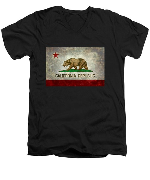 California Republic State Flag Retro Style Men's V-Neck T-Shirt by Bruce Stanfield
