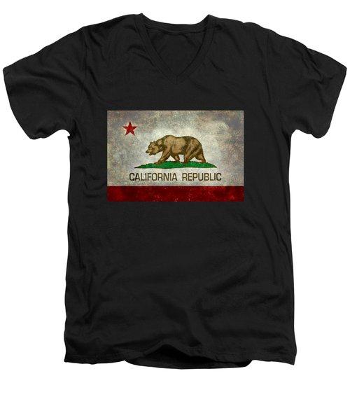California Republic State Flag Retro Style Men's V-Neck T-Shirt