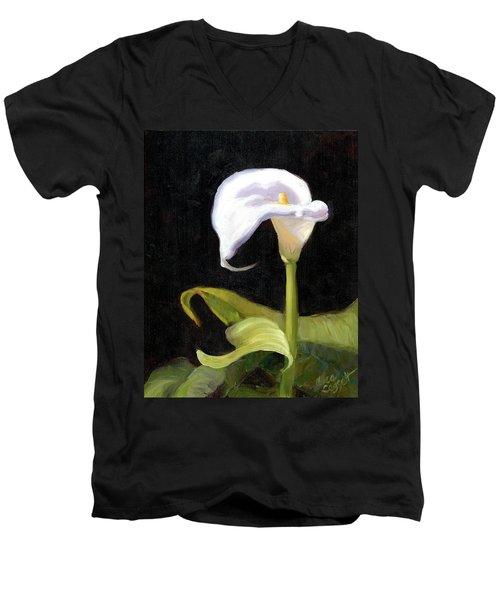 Calla Lily Men's V-Neck T-Shirt by Alice Leggett
