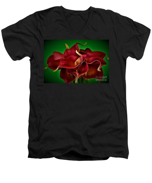 Calla Lily Bouquet Men's V-Neck T-Shirt