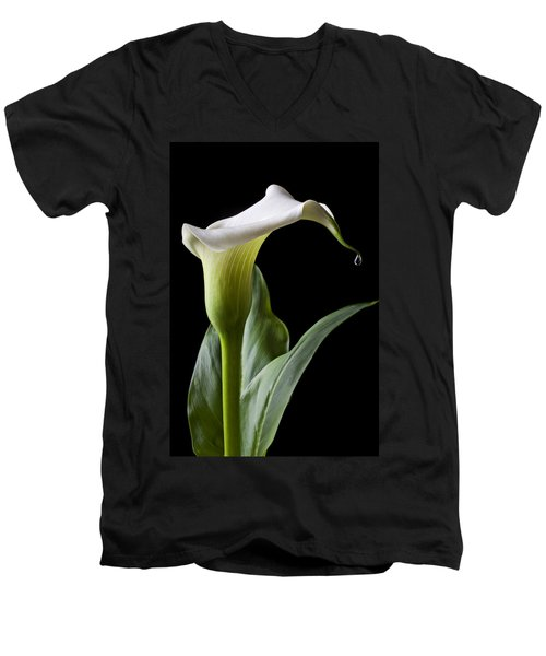 Calla Lily With Drip Men's V-Neck T-Shirt by Garry Gay